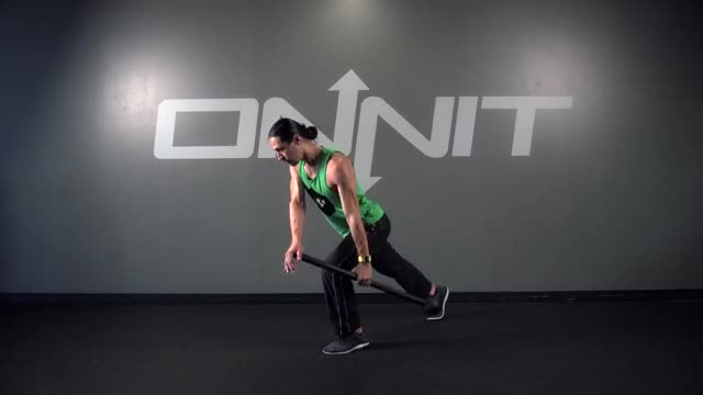 Split Stance Offset Side Row Steel Mace Exercise demonstration