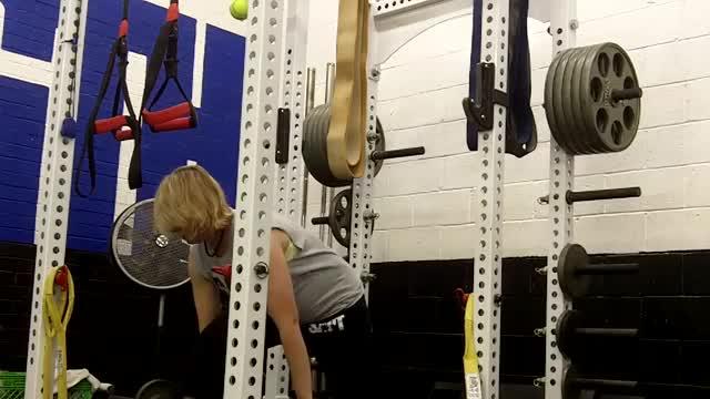 Female Split Stance Barbell Deadlift demonstration