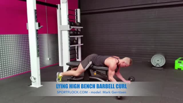 Lying High Bench Barbell Curl demonstration
