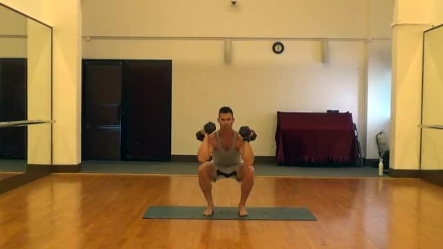 Male Dumbbell Squat To Shoulder Press demonstration
