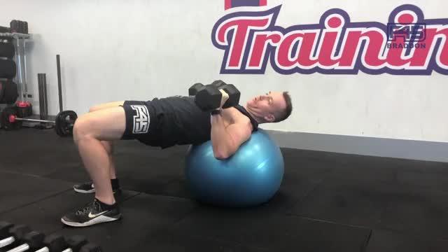 Exercise Ball Dumbbell Bench Press demonstration