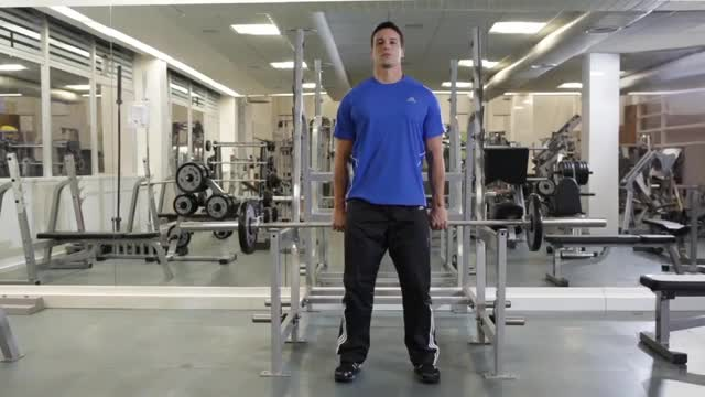 Barbell Shrug Behind The Back demonstration