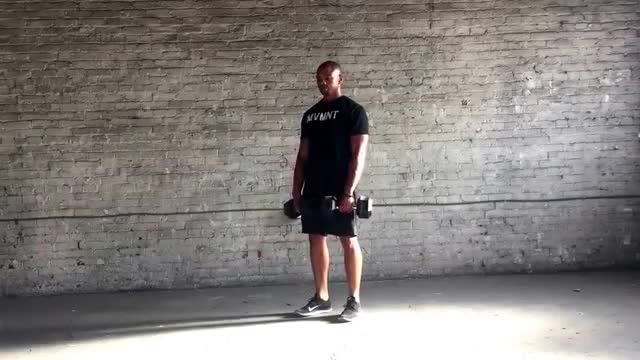 Dumbbell Hang Clean and Press demonstration