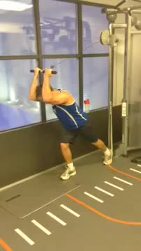 Male Reverse Grip One Arm Seated Overhead Tricep Extension demonstration