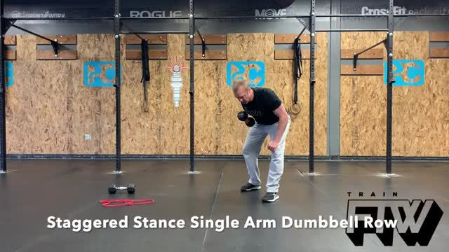 Staggered Stance Single Arm Dumbbell Row demonstration