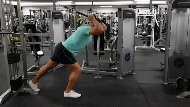 High Pulley Overhead Tricep Extension (rope extension) demonstration