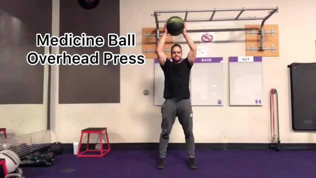 Male Medicine Ball Overhead Press demonstration