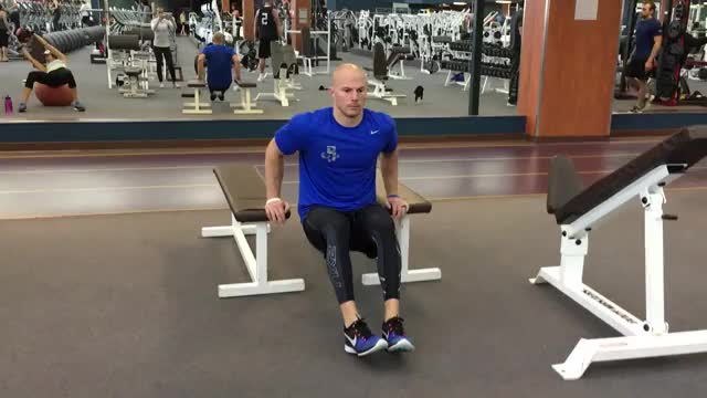 Chest Dip (bent knees between benches) demonstration