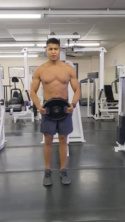 High Weight Plate Front Raise demonstration