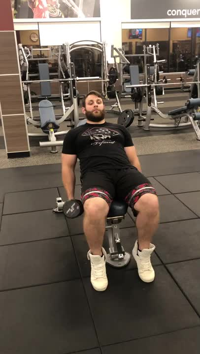 Male Incline Bench Hammer Curl demonstration