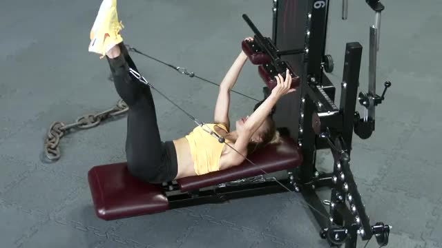 Female Cable Lying Hip Adduction demonstration