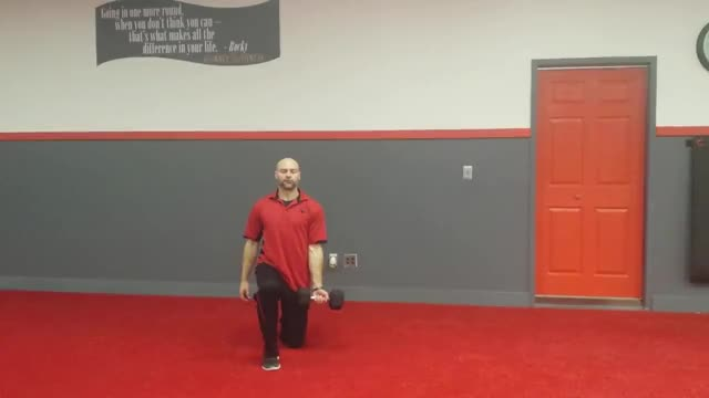 Half-Kneeling Single Arm Dumbbell Curl to Press demonstration