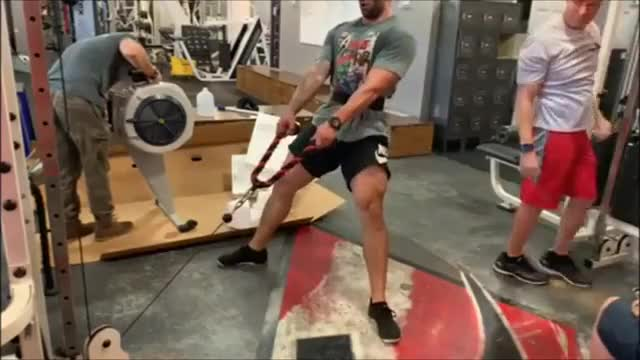 Male Cable Sumo Squat demonstration