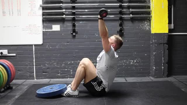 Male Barbell Push Sit-up demonstration