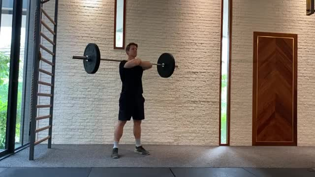 Crossed-Arm Barbell Front Squat demonstration