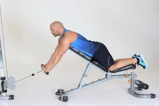 Male Reverse Grip Incline Bench Cable Row demonstration