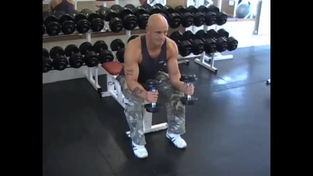 Male Seated Neutral Dumbbell Wrist Curl demonstration
