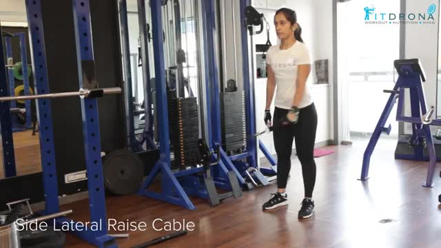 Female Single Arm Cable Lateral Raise (Crossbody) demonstration