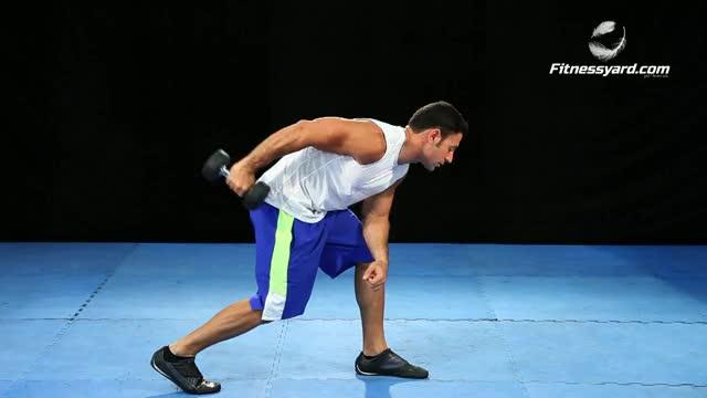 One Arm Bent Over Dumbbell Tricep Kickback demonstration