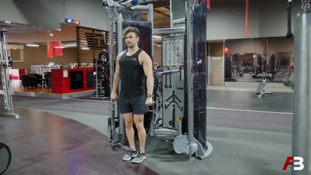 Male Cable Alternating Front Raise demonstration