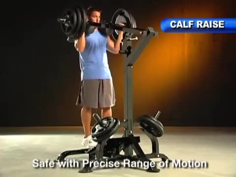 Male Lever Calf Raise (on v-squat machine, plate loaded) demonstration
