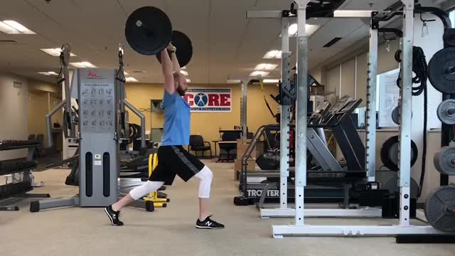 Wide-Grip Overhead Barbell Split Squat demonstration