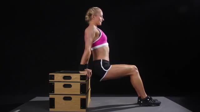 Female Bench Dip (knees bent) demonstration