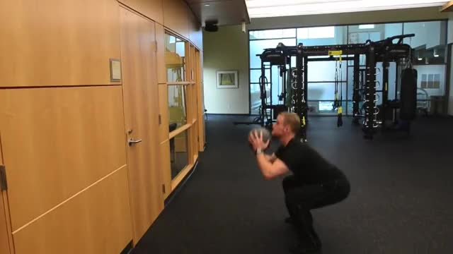 Medicine Ball Squat and Forward Throw demonstration