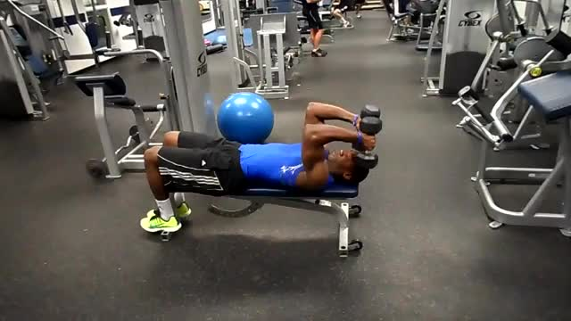 Male Dumbbell Triceps Extension to Situp demonstration