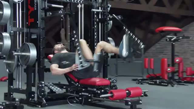 Male Lever Alternating Lying Leg Press demonstration
