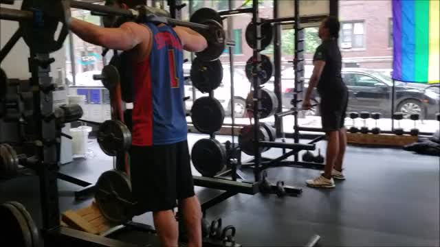 Safety Barbell Standing Leg Calf Raise demonstration