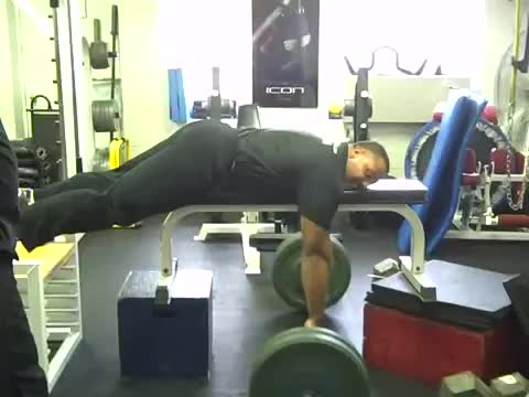 Lying Cambered Barbell Row demonstration