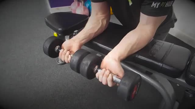 Male Neutral Dumbbell Wrist Curl Over Bench demonstration