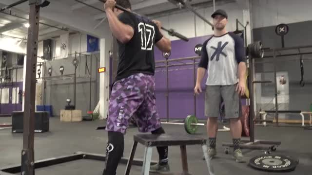 Male Front Box Squat demonstration