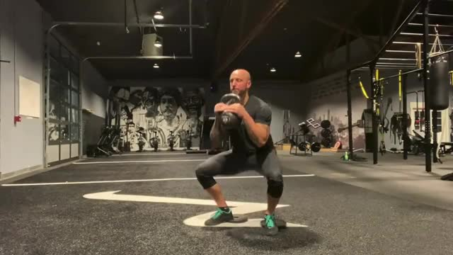 1 and a half Kettlebell Goblet Squats demonstration