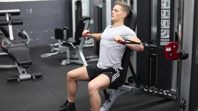 Male Cable Chest Press demonstration