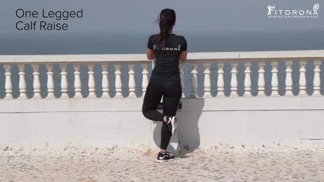 Female One Leg Standing Bodyweight Calf Raise demonstration