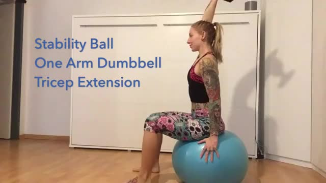 Female Exercise Ball One Arm Dumbbell Extension demonstration