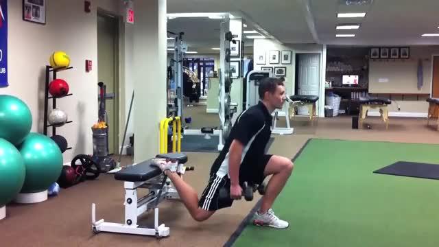 Male Bench One Leg Dumbbell Squat demonstration