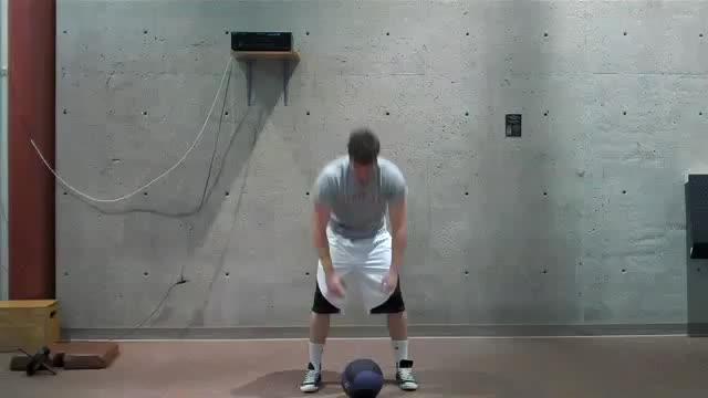 Male Medicine Ball Jump Snatch demonstration