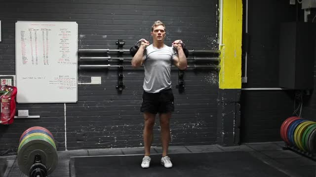 Double Kettlebell Split Jerk demonstration
