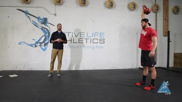 Kettlebell 1-Arm Overhead Walking Lunge demonstration