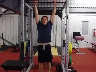 Male Pull Up with Leg Raise demonstration
