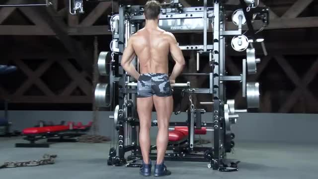 Male Cable Bar Upright Row demonstration