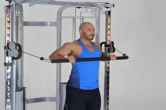 Male Cable Bar Standing Decline Chest Press demonstration