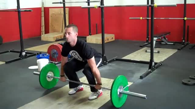 Male Power Clean Into Front Squat Demonstration