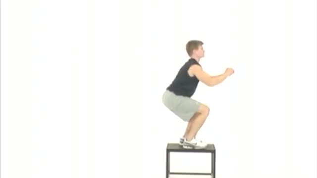 Lateral Box Jump-Up with Stabilization Frontal demonstration