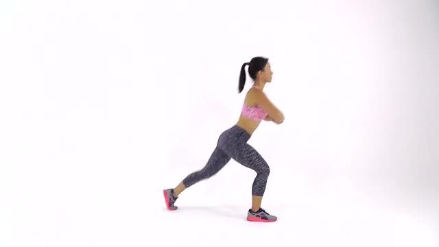 Female Reverse Lunge to Single-leg Kickback demonstration