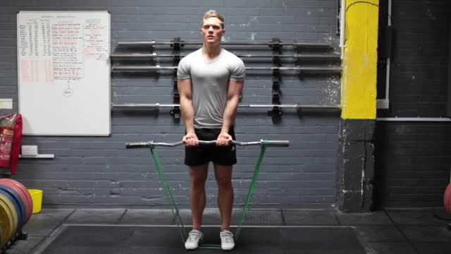 Close-Grip EZ-Bar Curl with Band demonstration