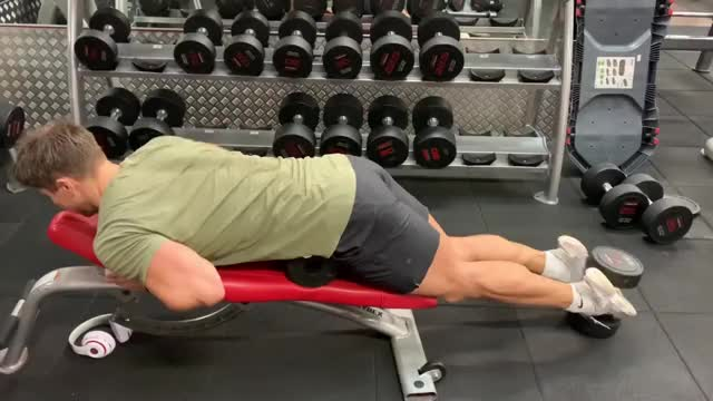 Male Dumbbell Hamstring Curl demonstration